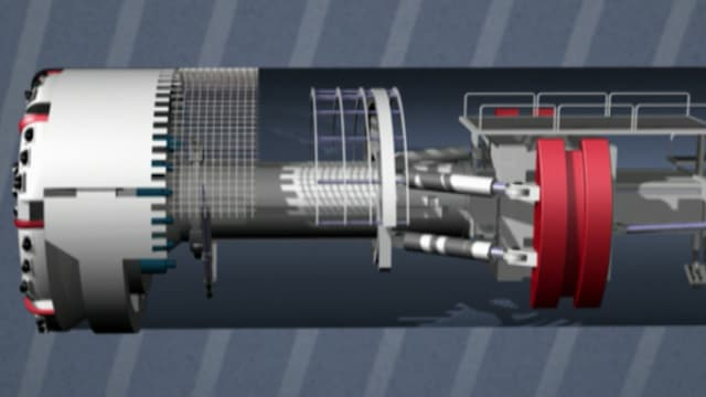Animation einer Tunnelbohrmaschine.