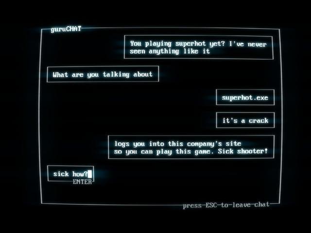 Ein Chatfenster, in dem sich Leute über Superhot unterhalten.