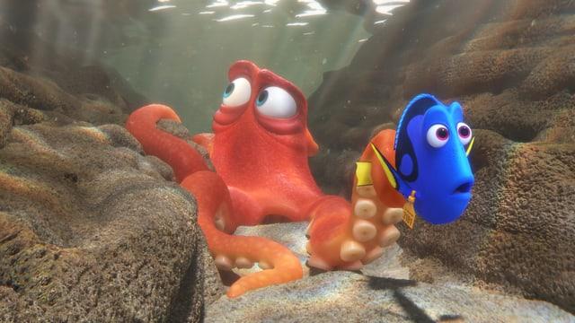 Dory schwimmt neben einem Tintenfisch.