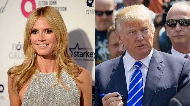 Splitscreen: Links Heidi Klum im Glitzerkleid, rechts Donald Trump im Anzug.