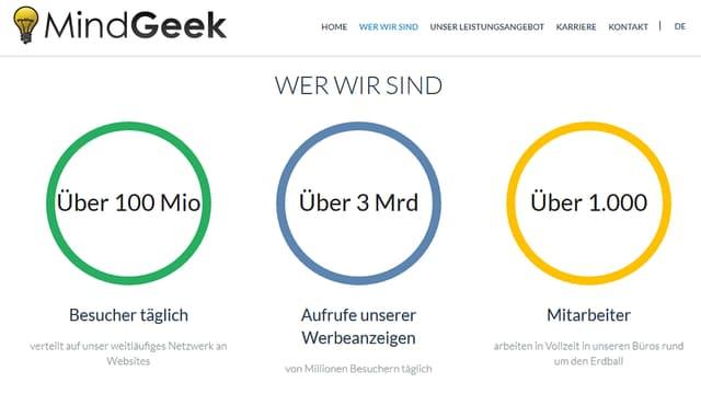 Screenshot der Mindgeek-site mit drei Kreisen mit Zahlen drin: 100 Mio. Besucher täglich, über 3. Mia. Aufrufe unserer Werbeanzeigen, über 1000 Mitarbeiter.