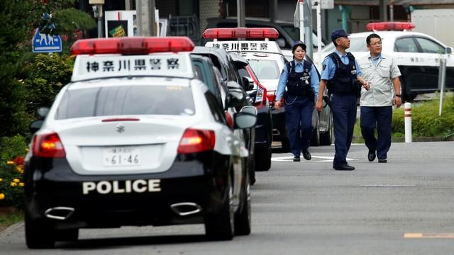 Polizei am Tatort in Sagamihara