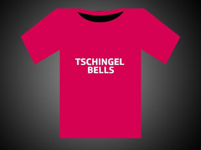 Weisse Schrift auf rotem T-Shirt: Tschingel Bells.