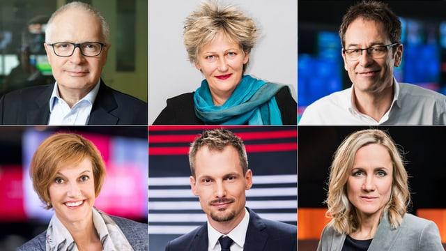 Für Sie im «Hallo SRF!»-Chat (von oben links): unter anderem Ruedi Matter (Direktor SRF), Lis Borner (Chefredaktorin Radio), Tristan Brenn (Chefredaktor TV), Andrea Hemmi (Kommunikationschefin), Jonas Projer (Leiter Talkredaktionen), Barbara Lüthi (Teamleiterin «Club»).