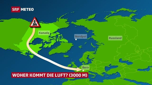 Eine Trajektorie, Linie des Windweges, zeigt wie die Rauchpartikel von Kanada in die Schweiz gelangten.