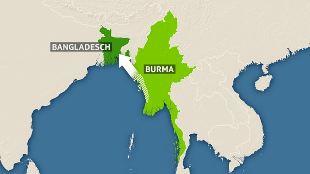 Eine Karte mit Burma und Bangladesch