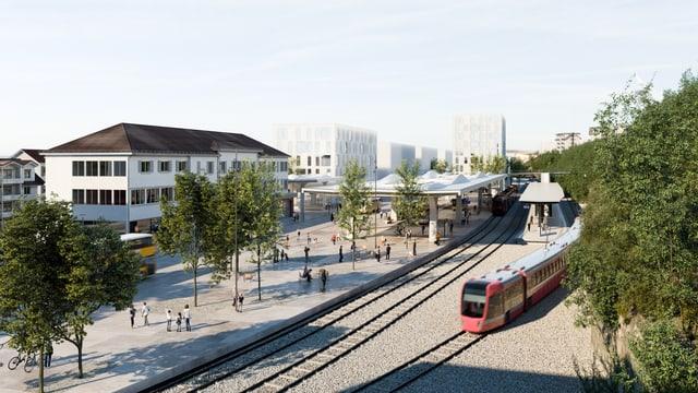 Visualisierung des Bahnhofprojekts in Herisau.