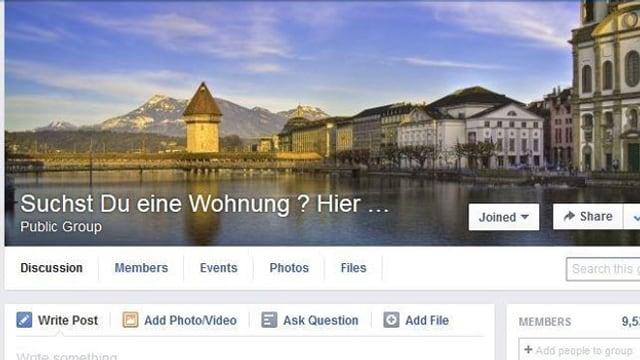 Facebookgruppe für Wohnungssuchende im Internet