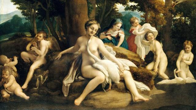Ölgemälde: Nackte Frauen. Ein Schwan sitzt im Zentrum auf dem Schoss einer Frau.