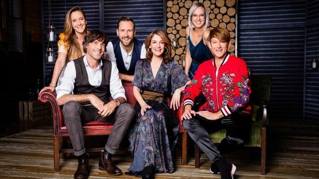 Sina mit den Gästen Stefanie Heinzmann, Michael von der Heide, Adrian Stern, Kunz und Anna Känzig