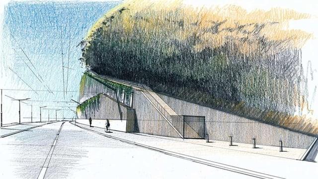 Eine Zeichnung, die zeigt, wie die Strasse künftig aussehen soll.