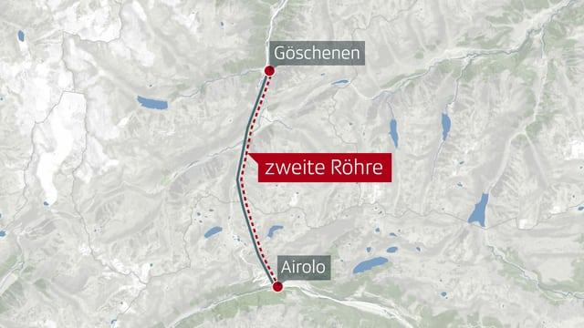Karte, die Verlauf der zweiten Röhre des Gotthard-Strassentunnels von Göschenen nach Airolo zeigt.