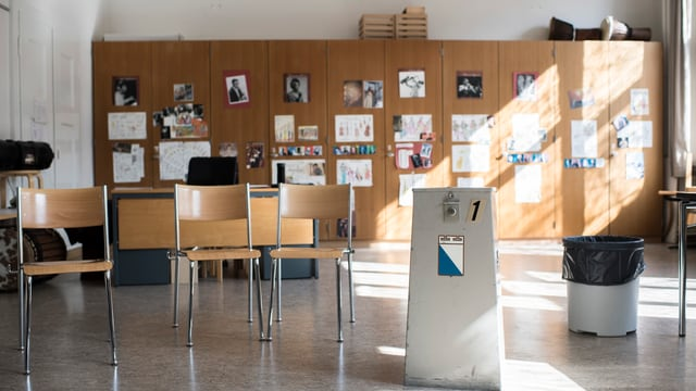 Eine Abstimmungsurne in einem leeren Klassenzimmer