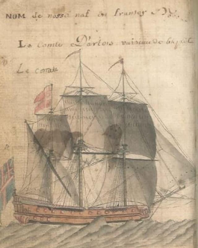 Ina pagina ord il mauscrit illustrà da Gion Casper Collenberg che mussa ina bartga dal 18avel tschientaner