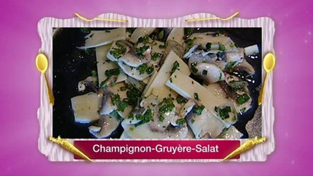 Greyerzer und Champignons an Zitronen-Kräutersauce