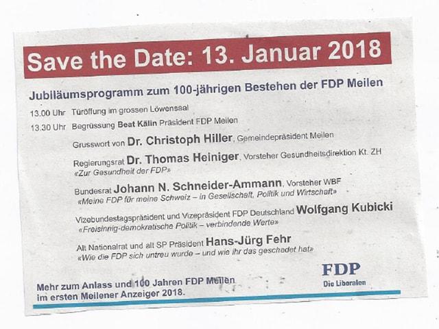 Inserat der Einladung - mit allen Gästen inklusive Bundesrat Johann Schneider-Ammann