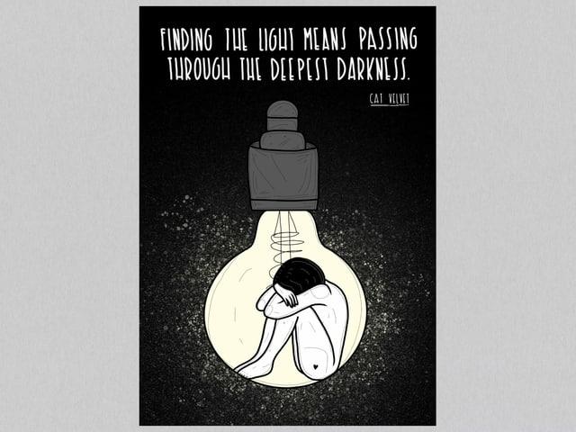 Ein Comic zeigt eine Frau, die in einer Glühbirne zusammengekauert sitzt.