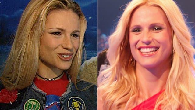 Zwei Porträtbilder von Michelle Hunziker. Das linke stammt aus 2001 und das rechte ist ein neueres. Auf beiden Fotos trägt sie die Haare offen und lächelt.