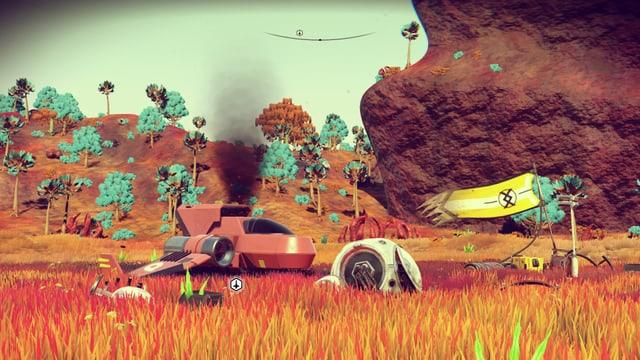 Ein rotes Raumschiff raucht im rötlichen Gras.