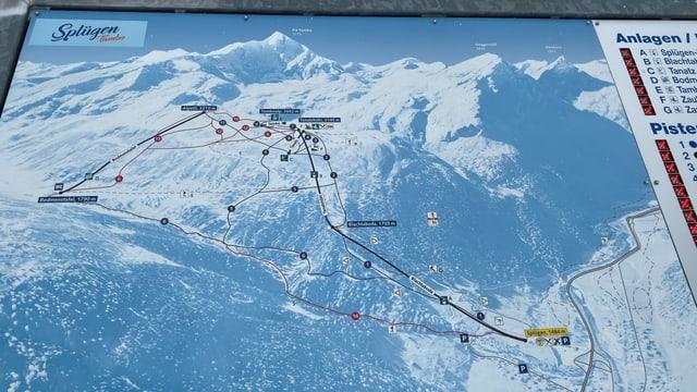 Purtret da la charta dal territori da skis.