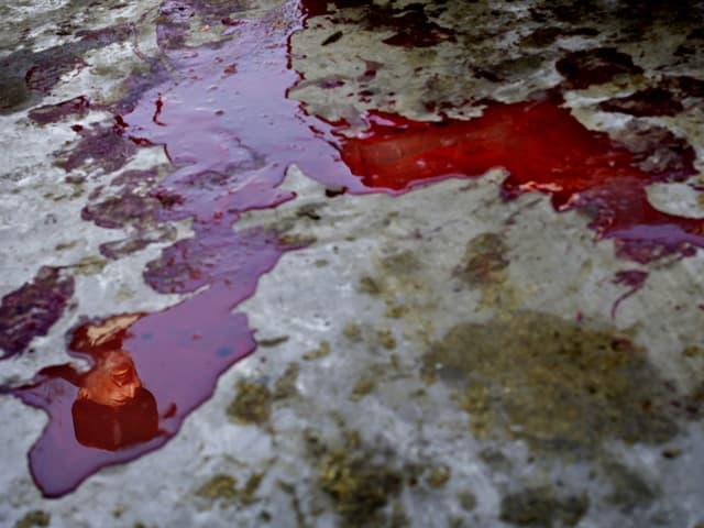 Blut rinnt über den Boden.