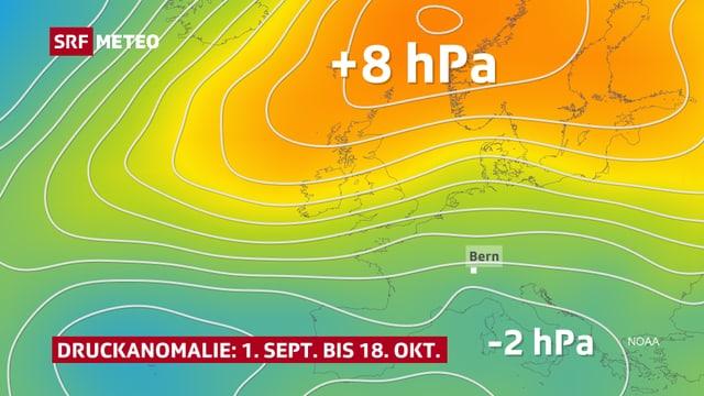 Europakarte: Im Norden gelb und orange für positive Abweichtung, im Süden grün und blau für negative Abweichung.