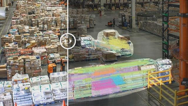 Ein Bild einer Lagerhalle, das in der Mitte durch einen Schieber geteilt ist. Die eine Seite zeigt Bildmanipulationen.