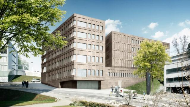 Visualisierung der neuen Augenklinik des Kantonsspitals Luzern. Zwei braune mehrstöckige Häuser.