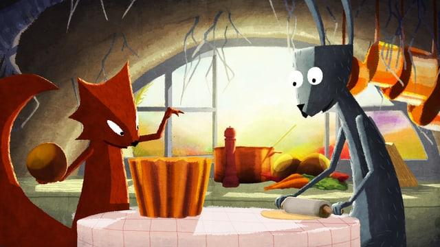 Zeichnung: Ein Eichhörnchen und ein HAse stehen in einer Küche und backen.