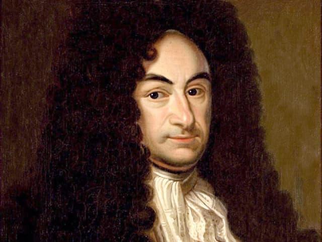 Das gemalte Porträt eines Mannes mit gelockter, dunkler Perücke und üppiger Kleidung.