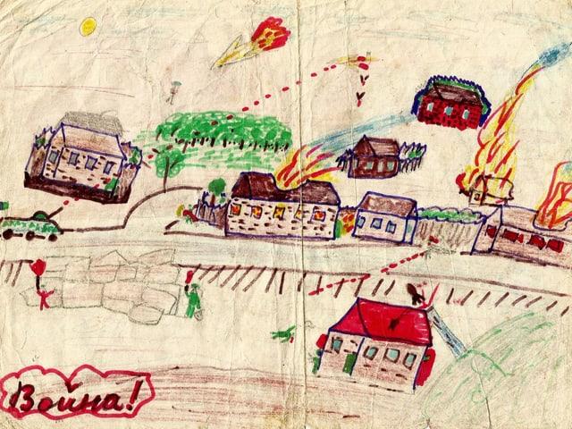 Kinderzeichnung: Ein Dorf mit einem schiessenden Panzer und brennenden Häusern.