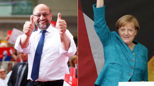 Martin Schulz und Angela Merkel im kombinierten Bild. Beide machen eine siegessichere Geste. (reuters)