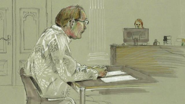 Zeichnung eines Mannes, an einem Pult sitzend