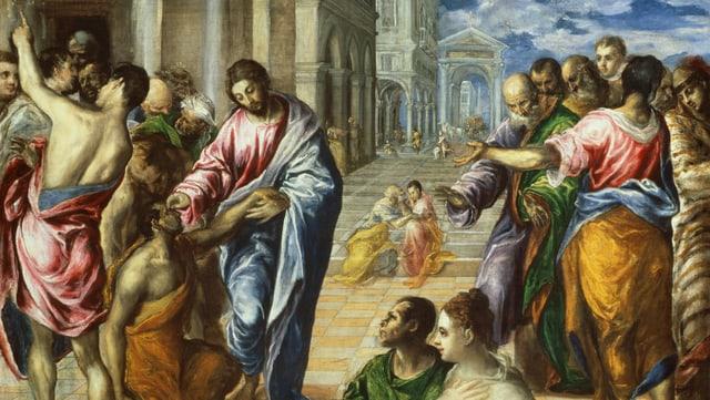 Christus steht neben einem blinden Mann und berührt dessen Augen.