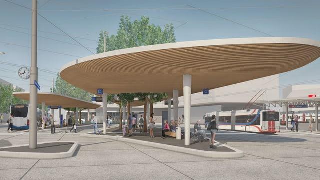 Visualisierung eines Busbahnhofes mit einem Unterstand für die wartenden Passagiere.