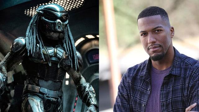 Zwei Bilder zusammengefügt: Links ein Alien in einer Art Rüstung. Rechts ein Mann in Hemd.