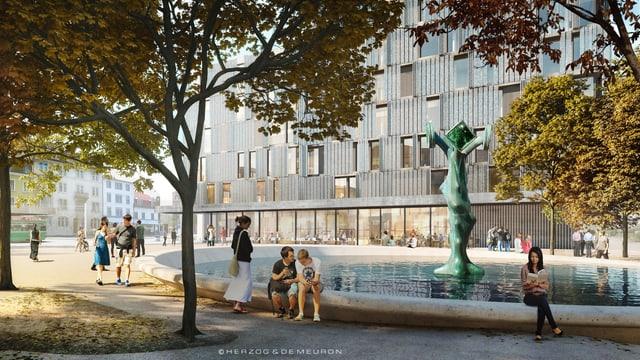 Eine Bildmontage, wie der neue Platz aussieht, Bäume, ein Brunnen, im Hintergrund ein vorbeifahrendes Tram.