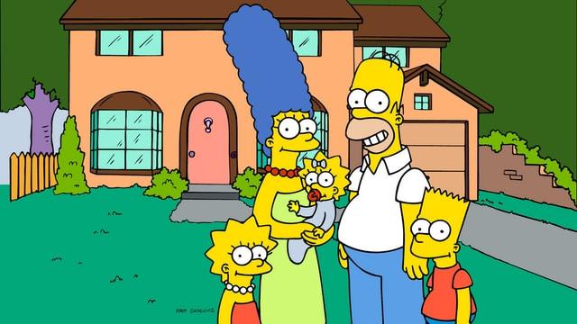 Simpsons vor ihrem Haus.