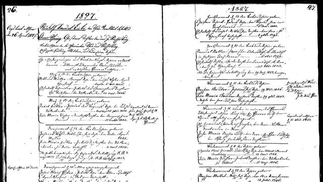 Alte Schrift in einem Kirchenbuch.