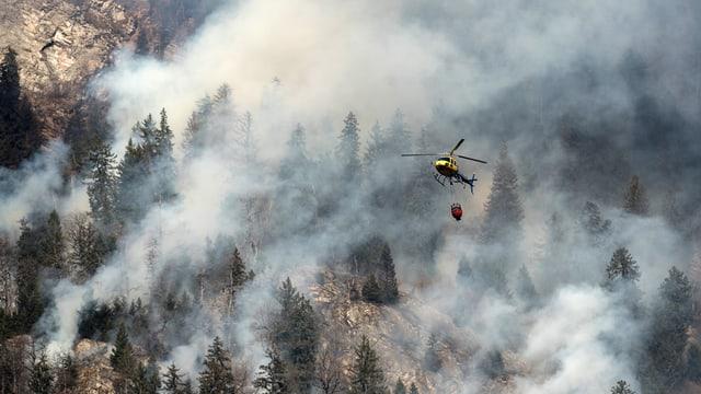 Waldbrand Graubünden Helikopter