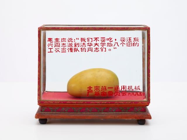 Glasvitrine, darin auf rotem Samt eine Mangonachbildung aus Wachs.