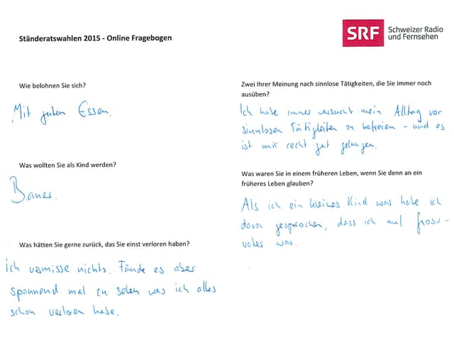 Online-Fragebogen, handschriftlich ausgefüllt von Bastien Girod.