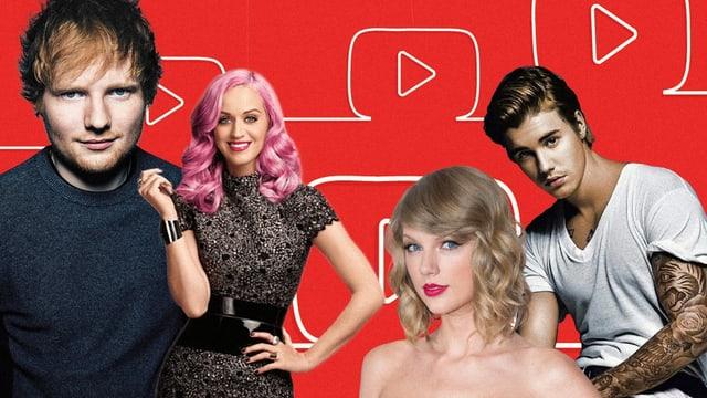 Sie sind alle in den Top 20 der meist geklickten YouTube-Videos: Ed Sheeran, Katy Perry, Taylor Swift und Justin Bieber.