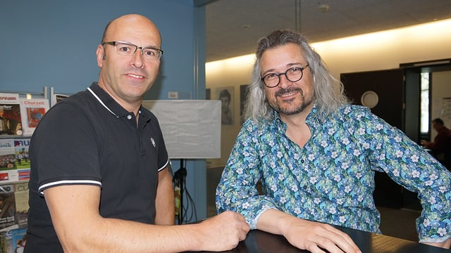 Peter Gisler und Dani Häusler im SRF Musikwelle Studio.
