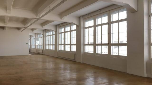 Eine leere Halle im Kammgarnareal