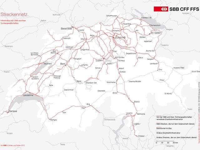 Das Streckennetz der SBB auf einer Karte der SBB. (SBB)
