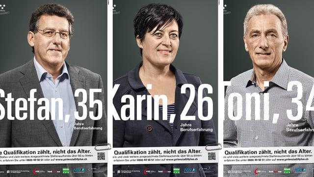 Drei Plakate der Kampagne nebeneinander. Auf jedem Plakat ist der Name einer Person und eine Zahl.