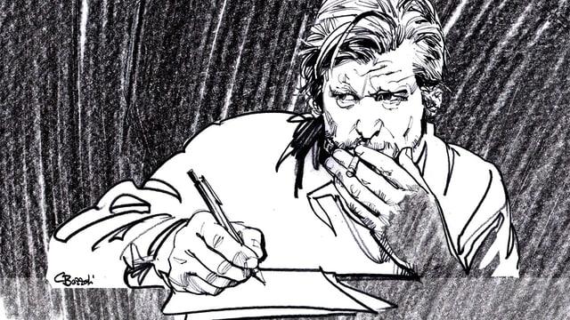 Zeichnung eines Mannes am Schreibtisch mit Papier, Stift und Zigarette.