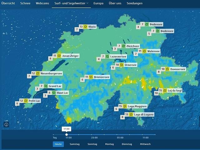 Schweizkarte mit Farbflächen für Windgeschwindigkeit