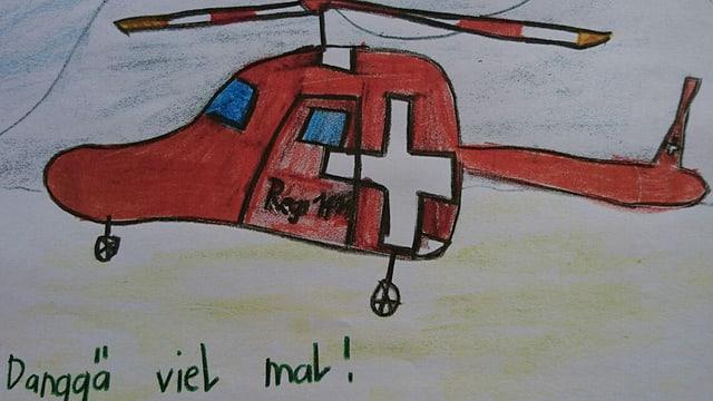 Ein Kind bedankt sich bei der Rega und dem Sozialdienst mit einer Zeichnung.